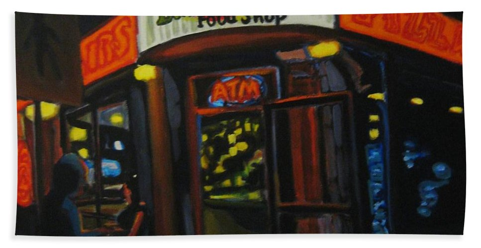 City Beach Towel featuring the painting European Food Shop by John Malone