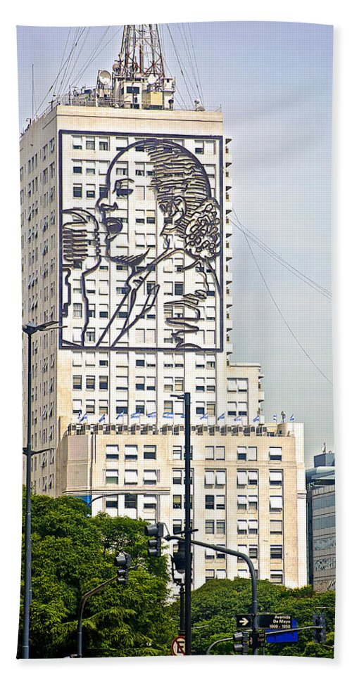 Eva Peron Outlined On The Wall Of A Skyscraper On July Nine Avenue In Buenos Aires Beach Towel featuring the photograph Eva Peron Outlined On The Wall Of A Skyscraper On July Nine Avenue In Buenos Aires-argentina by Ruth Hager