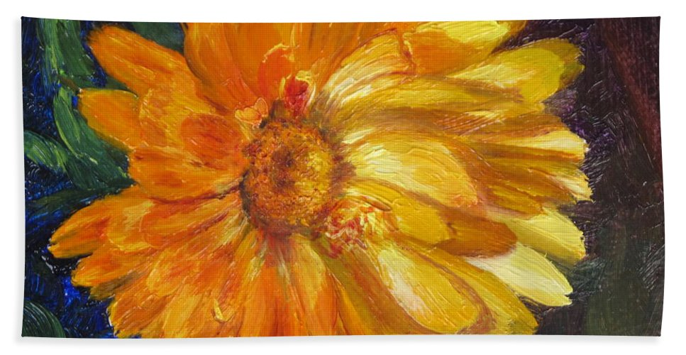 Flower Painting Beach Towel featuring the painting Even The Flowers In Autumn Are Golden by Lea Novak