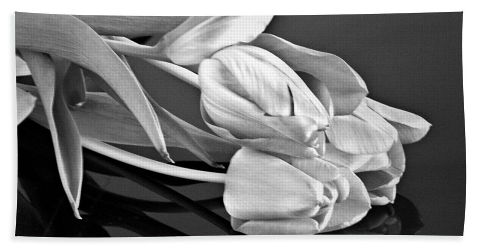 Tulips Beach Towel featuring the photograph Even Tulips Are Beautiful In Black And White by Sherry Hallemeier