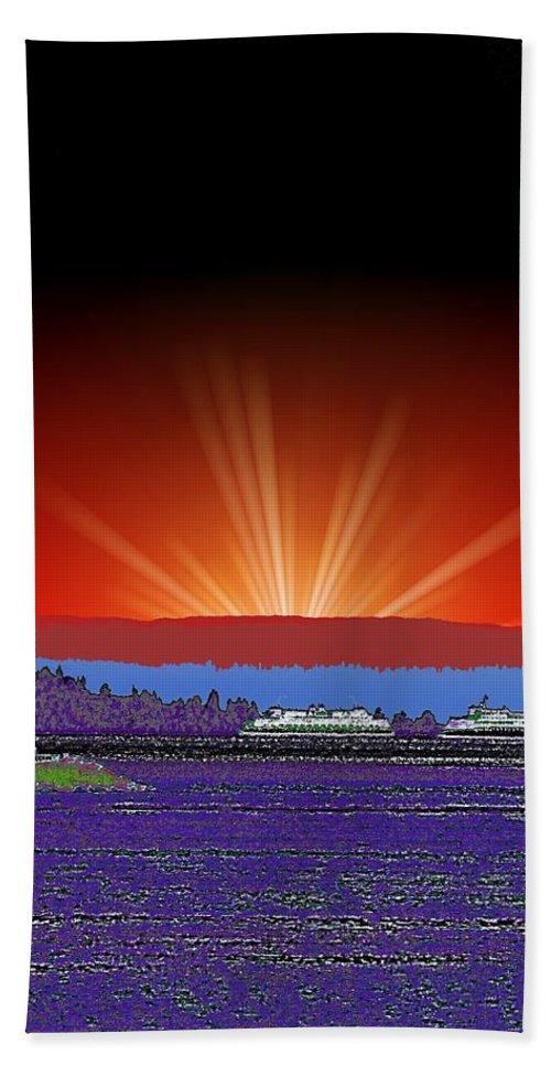 Evening Beach Towel featuring the digital art Evening At Alki by Tim Allen