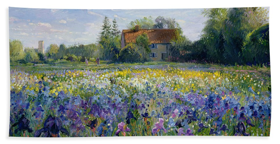 Landscape; Market Gardening; Flowers; Horticulture;cottage; Summer; Rural; Irises; Landscapes Beach Towel featuring the painting Evening at the Iris Field by Timothy Easton