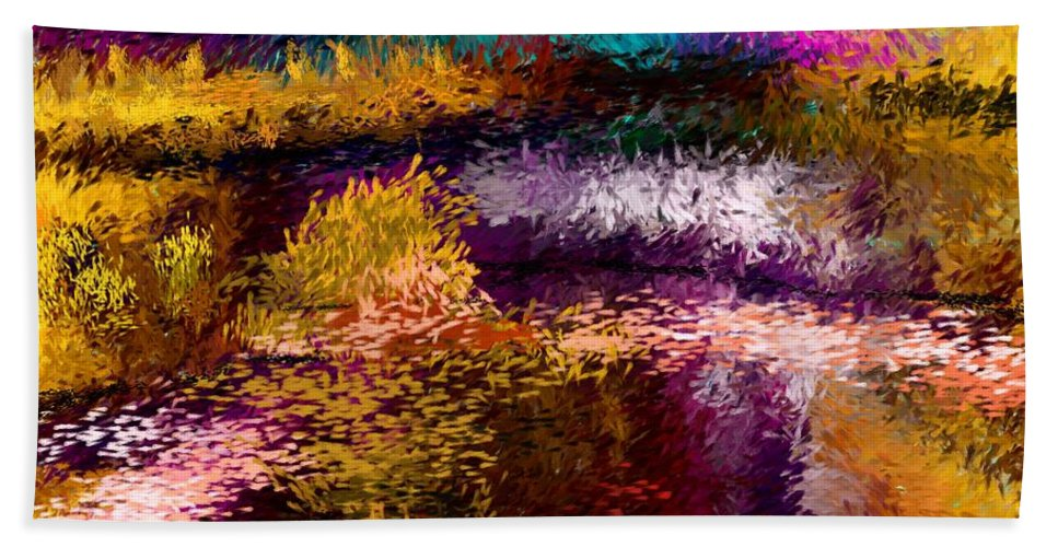 Abstract Beach Towel featuring the digital art Evening At The Pond by David Lane
