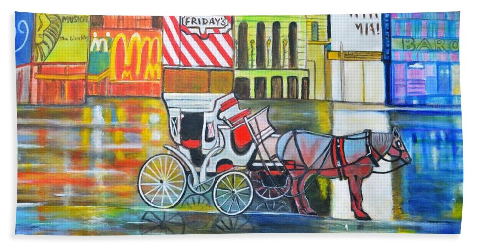Landscape Horse New York City Usa Carriage Mcdonald Tgi Friday Lion King Mama Mia Red Yellow Orange Blue Purple Wheels Buildings Cityscape Beach Towel featuring the painting Evening In New York by Manjiri Kanvinde