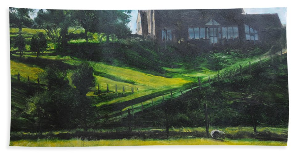 Landscape Beach Towel featuring the painting Evening In North Wales by Harry Robertson