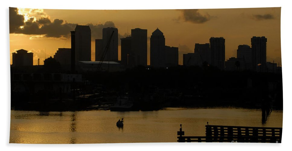 Tampa Bay Florida Beach Towel featuring the photograph Evening In Tampa by David Lee Thompson