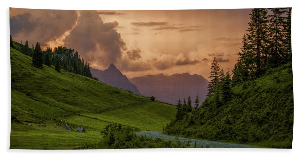 Evening Beach Towel featuring the photograph Evening In The Alps by Nailia Schwarz