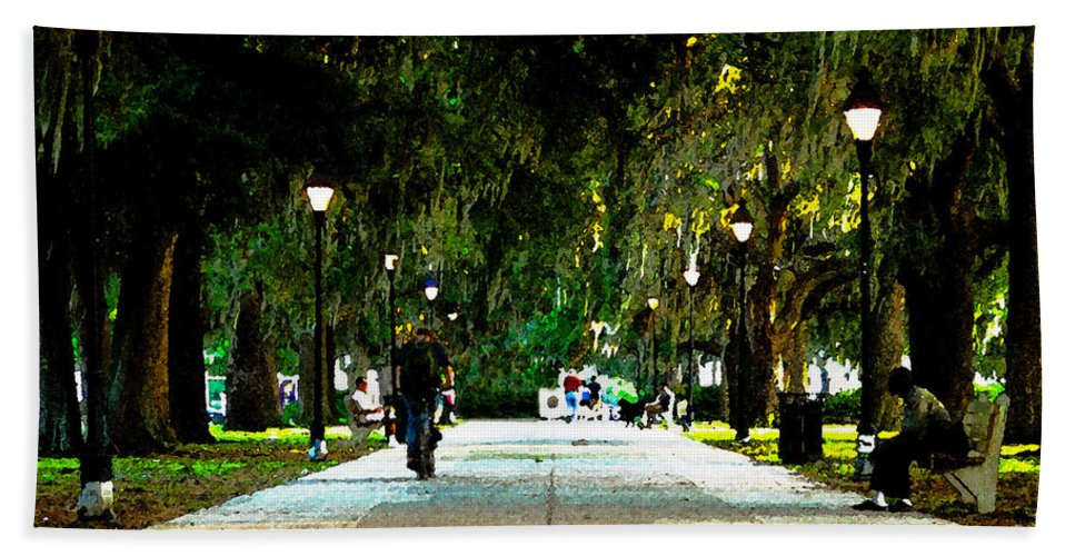 Savannah Georgia Beach Towel featuring the painting Evening In The Park by David Lee Thompson