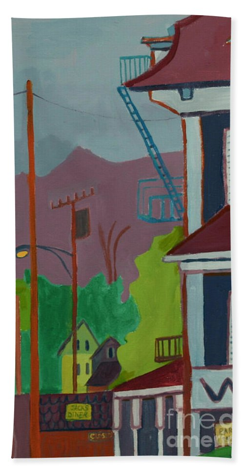Town Beach Towel featuring the painting Evening in Town Chelmsford MA by Debra Bretton Robinson