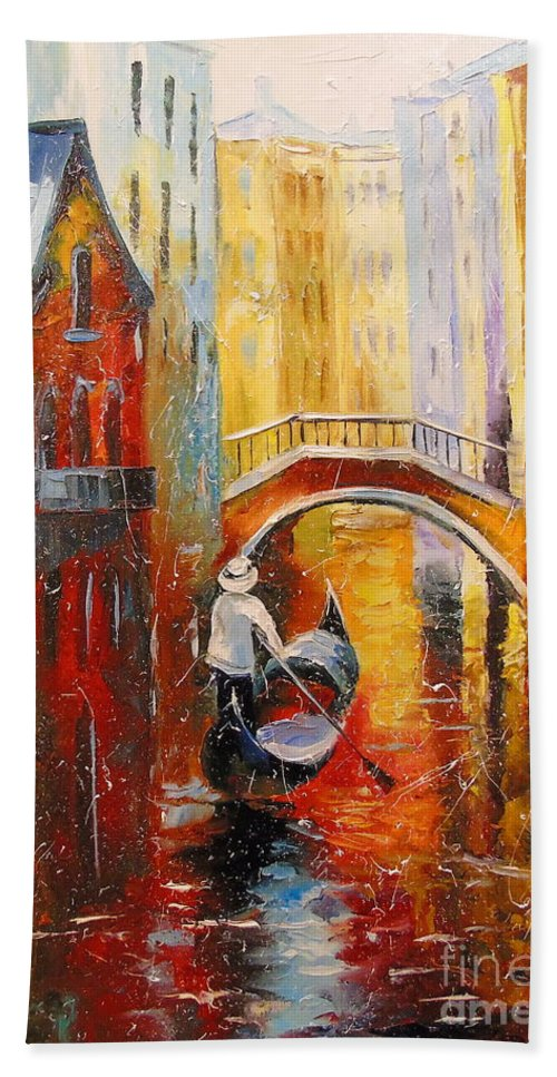 Evening In Venice Oil Painting On Canvas Beach Towel featuring the painting Evening In Venice by Olha Darchuk