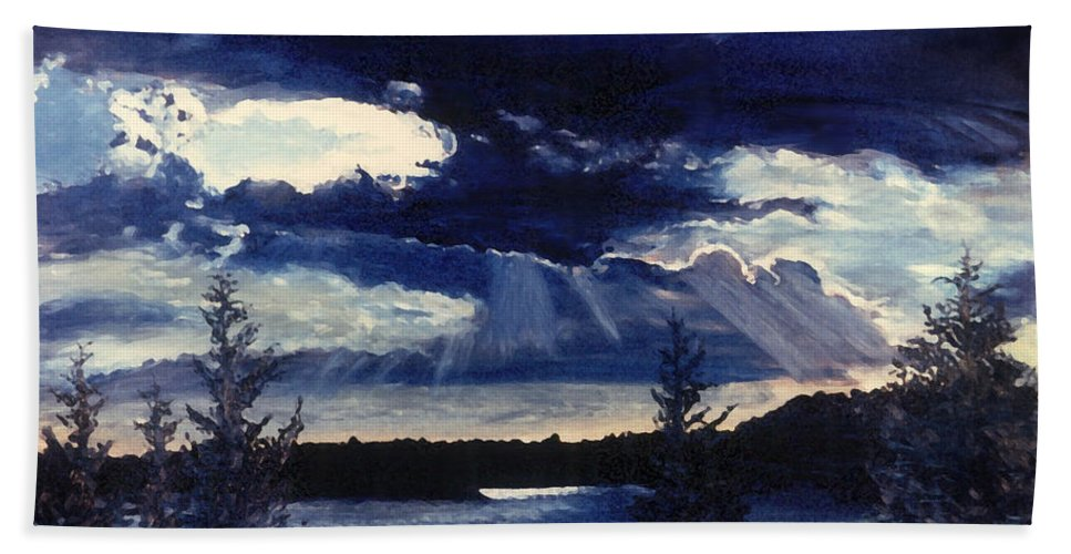 Landscape Beach Sheet featuring the painting Evening Lake by Steve Karol