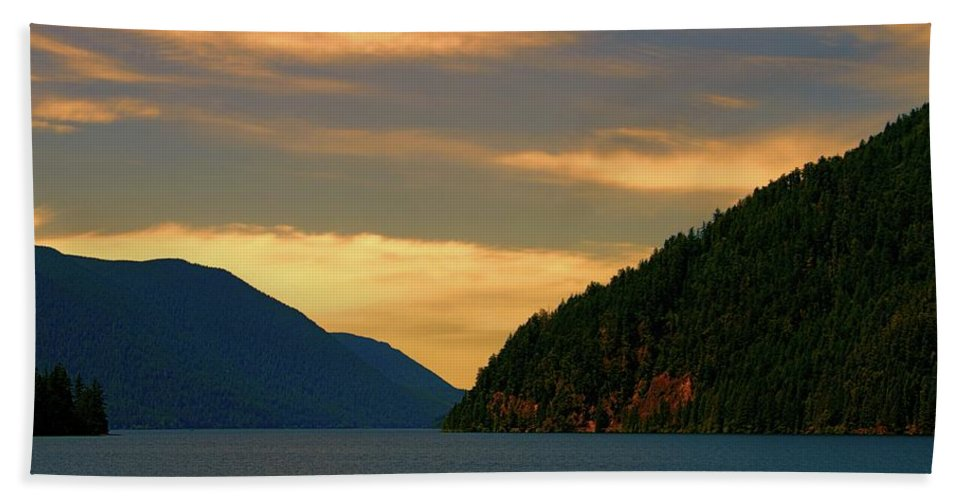Evening Light At Lake Crescent Beach Towel featuring the photograph Evening Light At Lake Crescent by Dan Sproul