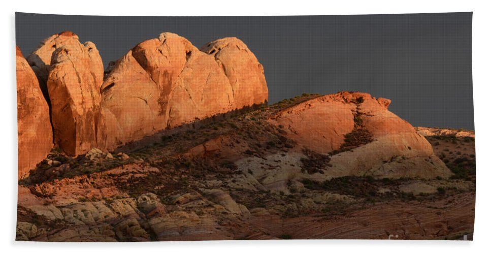 Nevada Beach Towel featuring the photograph Evening Light by Bob Christopher