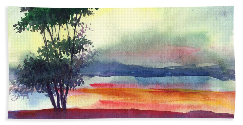 Water Color Beach Sheet featuring the painting Evening Lights by Anil Nene