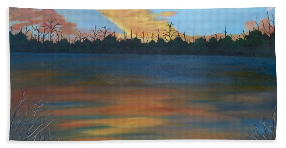 Landscape Beach Towel featuring the painting Evening Peace by Ruth Housley