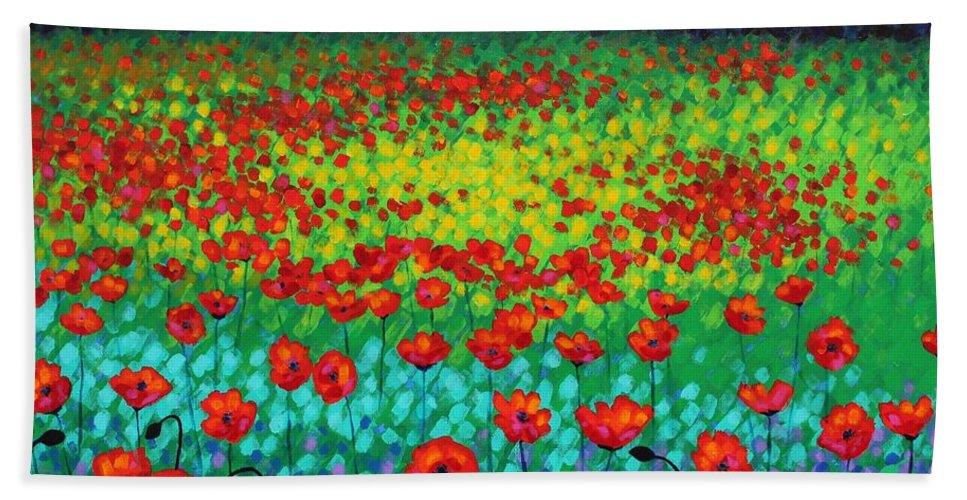 Acrylic Beach Towel featuring the painting Evening Poppies by John Nolan