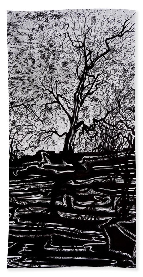 Pen And Ink Beach Towel featuring the drawing Evening Sun Of Waterton by Anna Duyunova