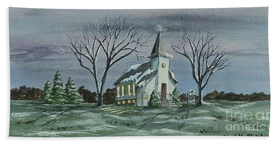 Country Church Painting Beach Towel featuring the painting Evening Worship In Winter by Charlotte Blanchard