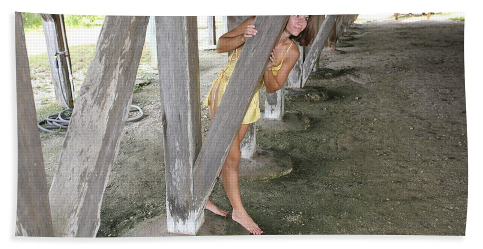 Everglades City Photographer Lucky Cole Female Beauty Love Enchanting Beauty Exotic Glamorous Natural Beauty Natural Setting Environmental Portraits Beach Towel featuring the photograph Everglades City Beauty 534 by Lucky Cole