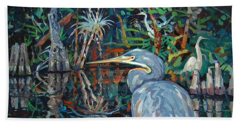 Blue Herron Beach Towel featuring the painting Everglades by Donald Maier