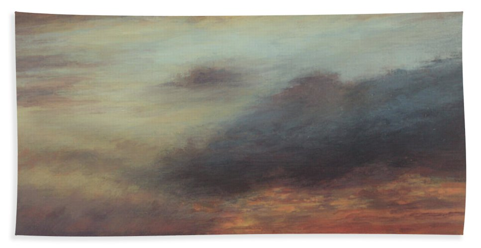 Sunset Beach Towel featuring the painting Every Cloud Has A Silver Lining by Valerie Travers