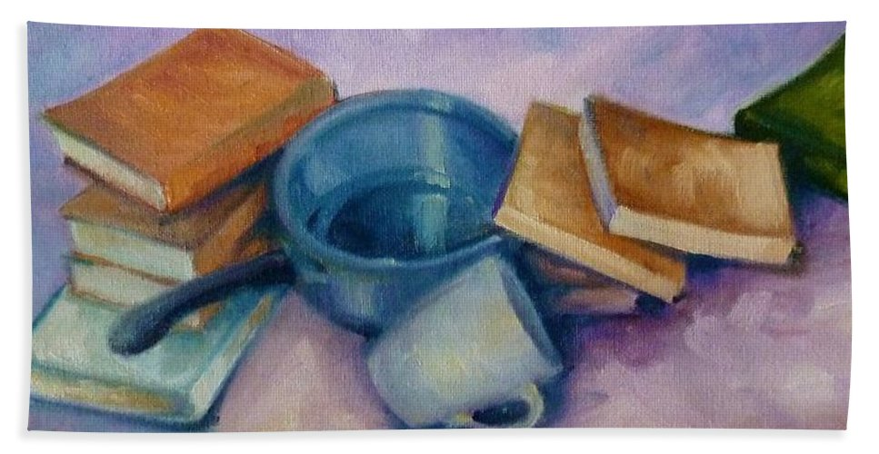 Still Life Beach Towel featuring the painting Everything But The Kitchen Sink by K M Pawelec