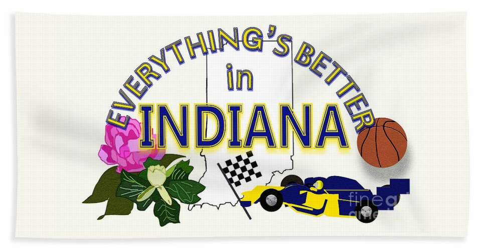 Indiana Beach Towel featuring the digital art Everything's Better in Indiana by Pharris Art
