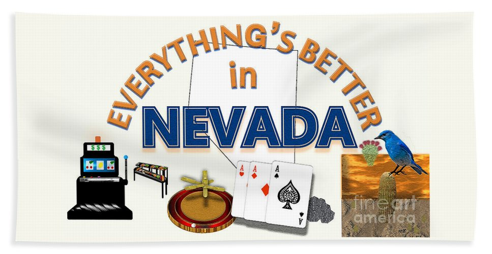Nevada Beach Towel featuring the digital art Everything's Better in Nevada by Pharris Art