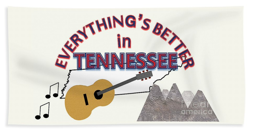 Tennessee Beach Towel featuring the digital art Everything's Better in Tennessee by Pharris Art