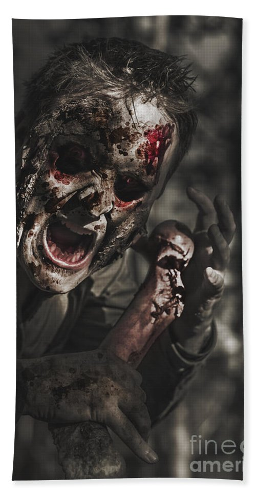 Scary Beach Towel featuring the photograph Evil Male Zombie Screaming Out In Bloody Fear by Jorgo Photography - Wall Art Gallery