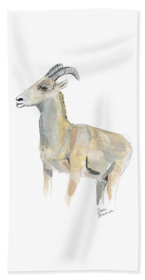 Bighorn Sheep Beach Towel featuring the painting Ewe by Sara Stevenson
