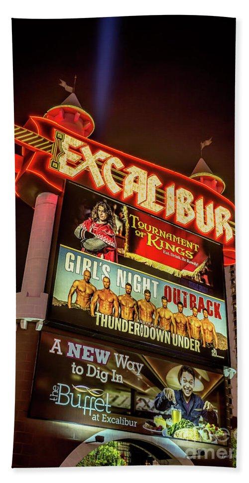 Excalibur Casino Sign Beach Towel featuring the photograph Excalibur Casino Sign Night by Aloha Art