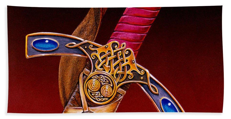 Swords Beach Sheet featuring the mixed media Excalibur by Melissa A Benson