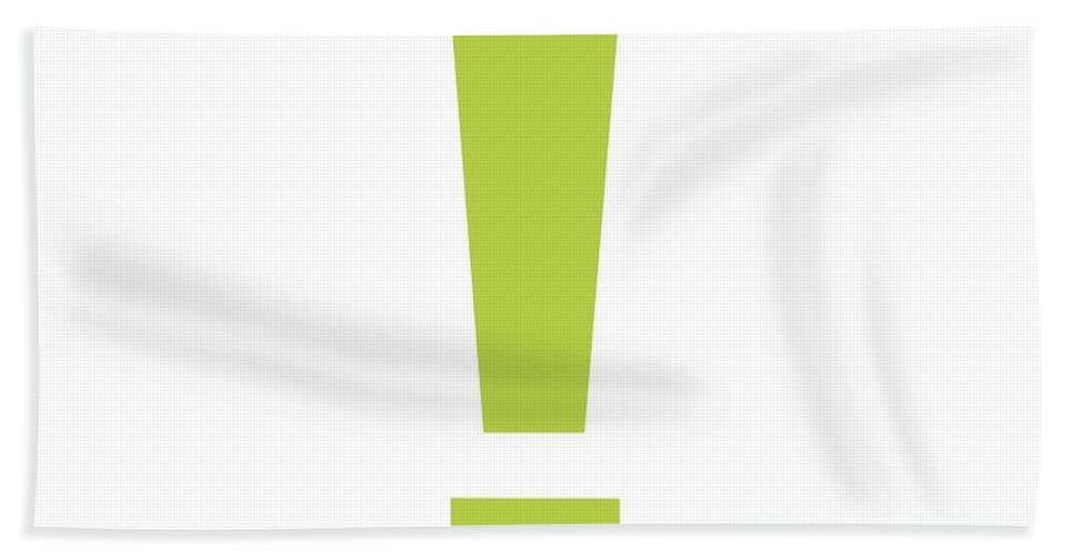 ! Beach Towel featuring the digital art Exclamation Mark In Spring Green Typewriter Style by Custom Home Fashions
