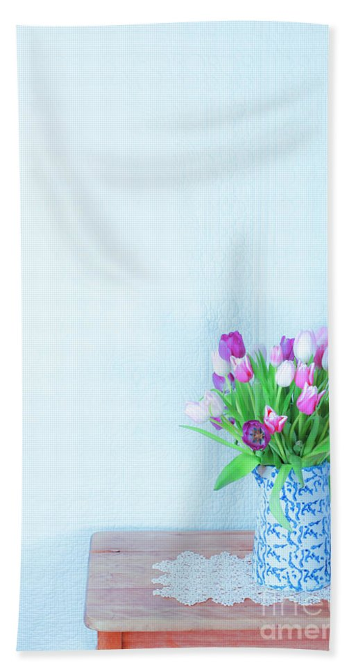 Tulips Beach Towel featuring the photograph Exhilaration Of Spring by Jean Saxon