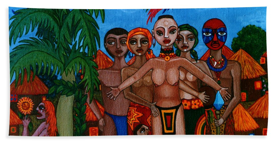 Homeland Beach Towel featuring the painting Exiled In Homeland by Madalena Lobao-Tello