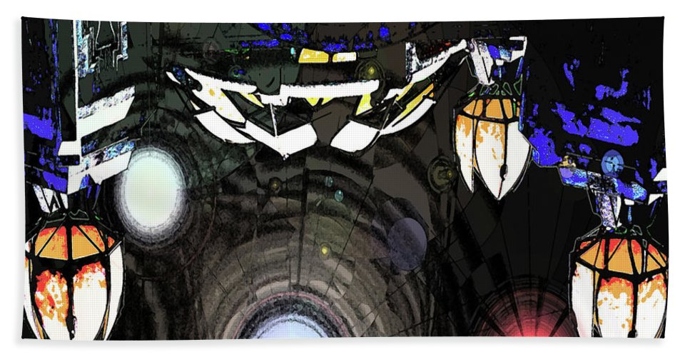 Abstract Beach Towel featuring the digital art Exiting The Mother Ship by DigiArt Diaries by Vicky B Fuller