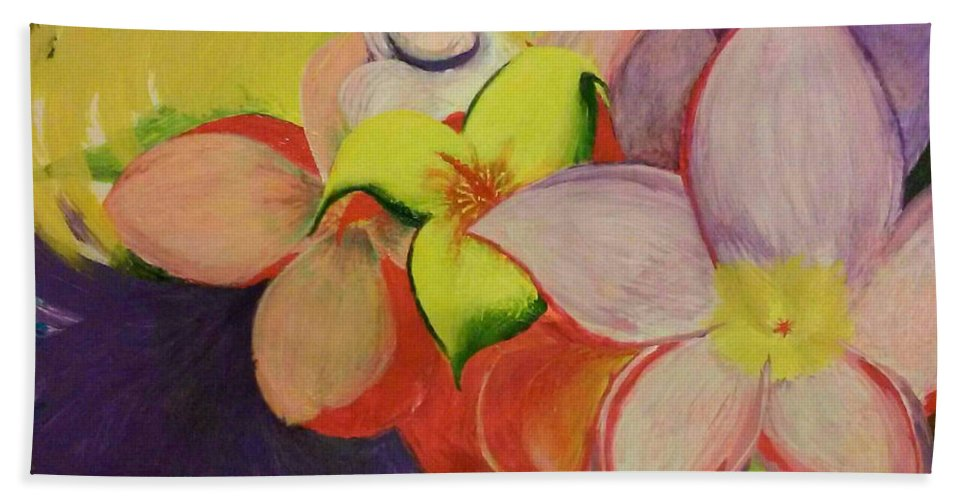 Flowers Beach Towel featuring the painting Exotic Flowers From The Islands by Robert Martin
