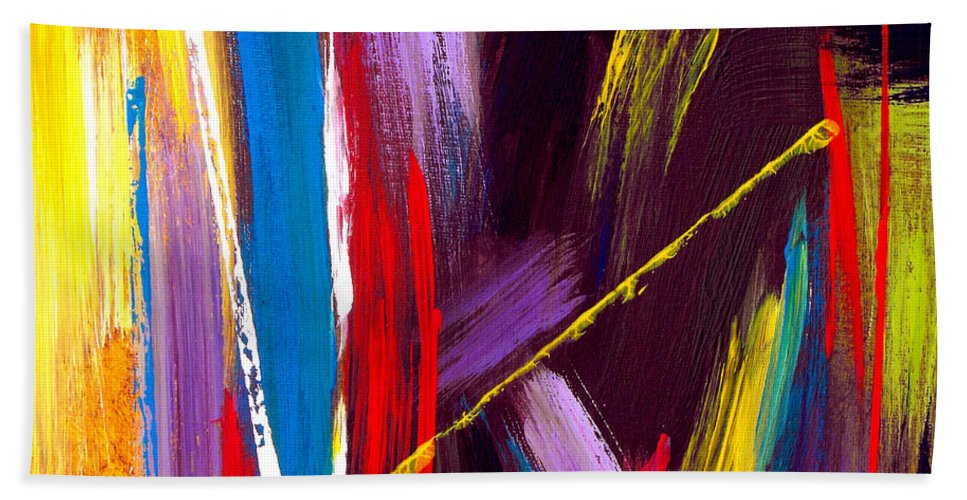 Abstract Beach Towel featuring the painting Express Yourself by Ruth Palmer