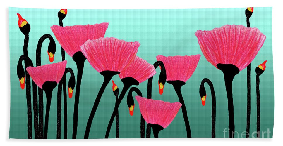 Bloom Beach Towel featuring the photograph Expressive Red Pink Green Poppy Painting Y1a by Ricardos Creations
