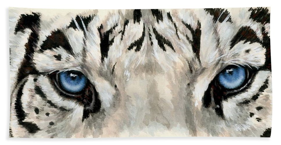 Big Cat Beach Towel featuring the painting Royal White Tiger Gaze by Barbara Keith