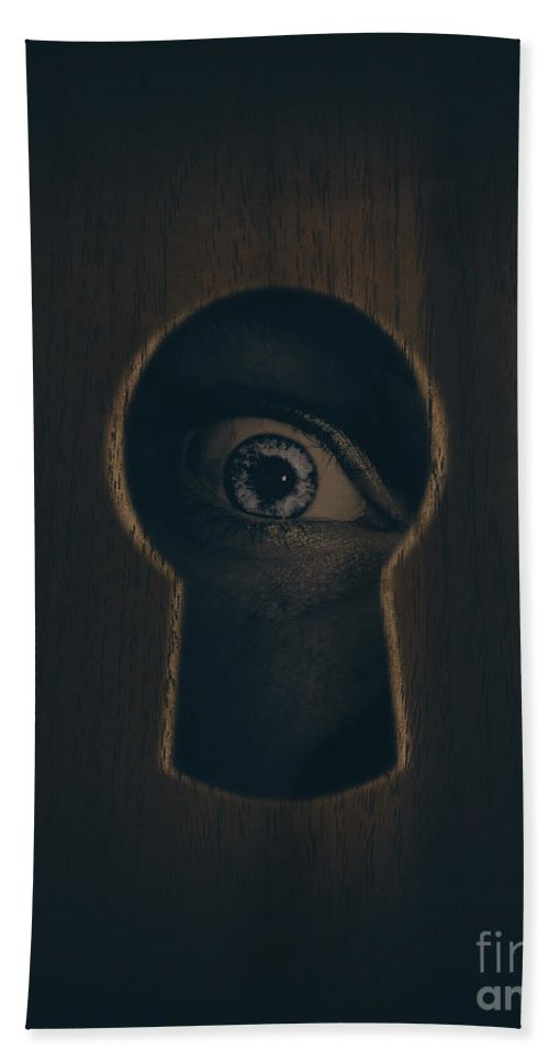 Keyhole Beach Towel featuring the photograph Eye Looking Through Door Keyhole by Jorgo Photography - Wall Art Gallery