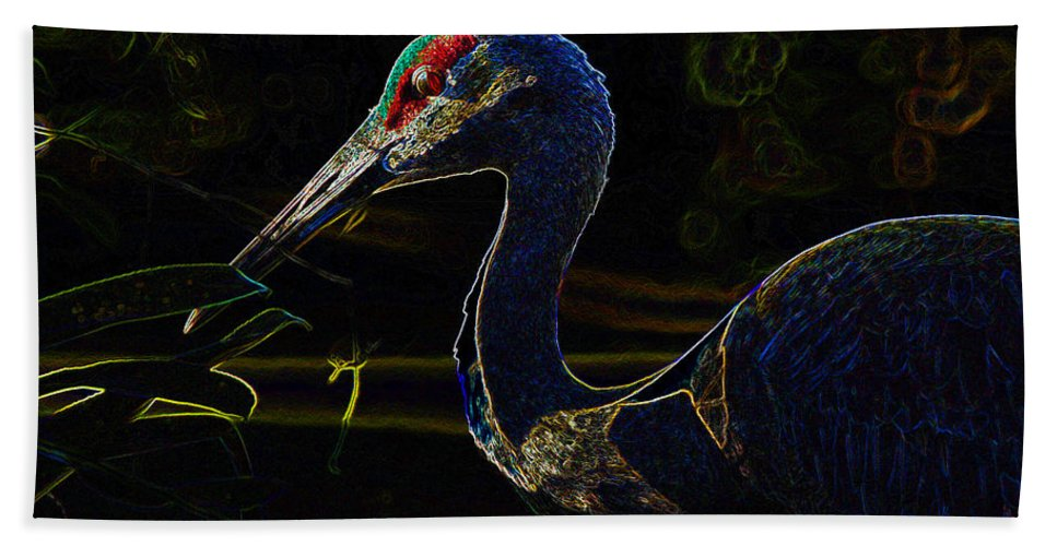 Bird Beach Towel featuring the painting Eye Of The Crane by David Lee Thompson