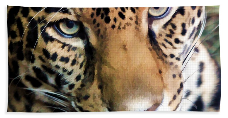 Leopard Beach Towel featuring the photograph Eye Of The Leopard by Athena Mckinzie