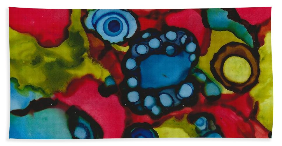 Colorful Abstract Beach Towel featuring the painting Eye See by Lisa Grogan
