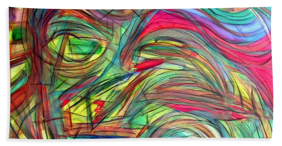 Art Beach Towel featuring the painting Eyes Of Persephone by Dawn Hough Sebaugh