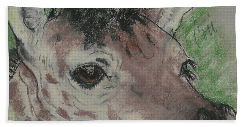 Giraffe Beach Towel featuring the drawing Eyes On You by Cori Solomon