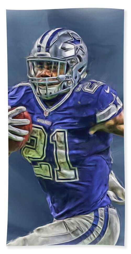 Ezekiel Elliott Beach Towel featuring the mixed media Ezekiel Elliott Dallas Cowboys Oil Painting 2 by Joe Hamilton