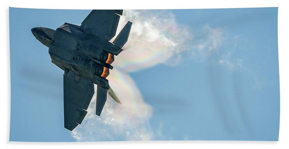 F-22 Beach Towel featuring the photograph F-22 Vapor by David Hart