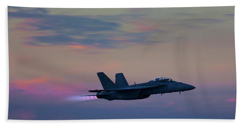 F/a-18 Super Hornet Beach Towel featuring the photograph F/a -18 Super Hornet, Dusk, Afterburner by Bruce Beck